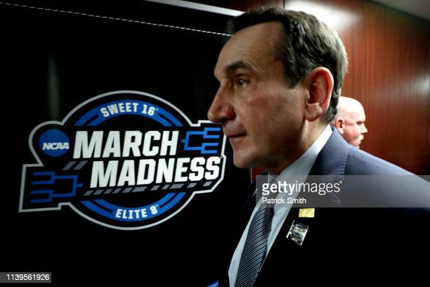 Head coach Mike Krzyzewski of the Duke Blue Devils walks back to the locker room after their teams 68-67 loss to the Michigan State Spartans in the...