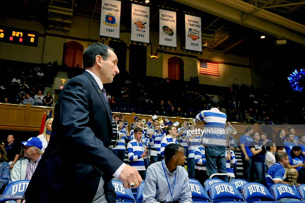 Head Coach Mike Krzyzewski of the Duke Blue Devils walks onto the court prior to a game against the Winston-Salem State Rams at Cameron Indoor Stadium on November 1, 2012 in Durham, North Carolina. Duke defeated Winston-Salem State 69-44.
