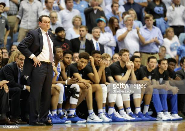Head coach Mike Krzyzewski of the Duke Blue Devils watches on during their game against the North Carolina Tar Heels at the Dean Smith Center on...