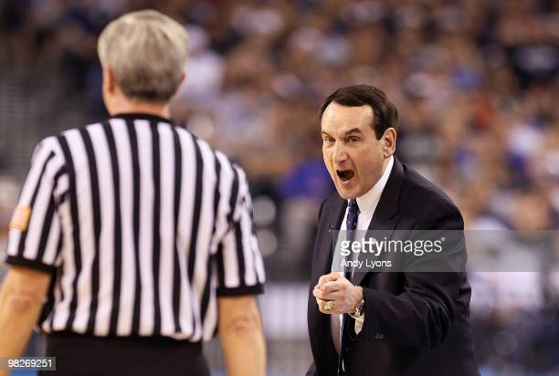 Head coach Mike Krzyzewski of the Duke Blue Devils yells at a refere in the first half while taking on the Butler Bulldogs during the 2010 NCAA...