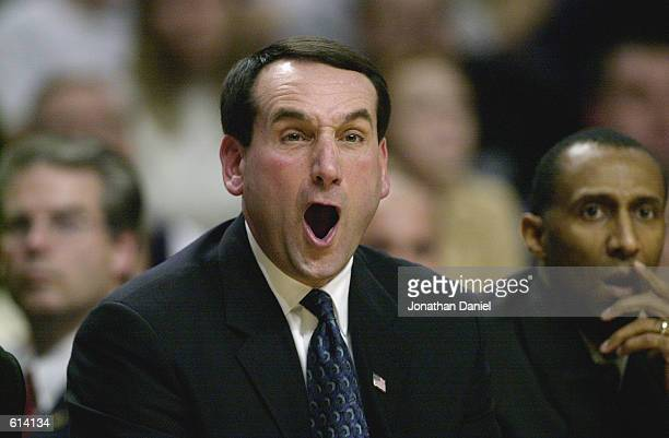 Head coach Mike Krzyzewski of the Duke Blue Devils yells during the ACC/Big Ten Challenge against the Iowa Hawkeyes at United Center in Chicago...