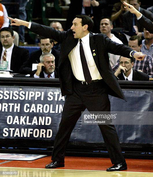 Head coach Mike Krzyzewski of the Duke Blue Devils yells from the bench during their second round NCAA Tournament game against the Mississippi State...