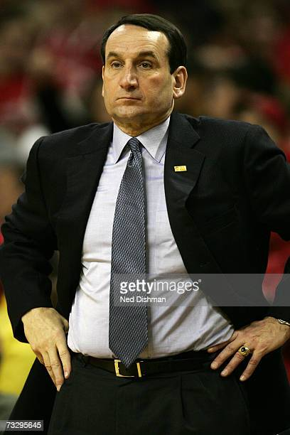 Head coach Mike Krzyzewski of the Duke University Blue Devils looks toward the action during game against the University of Maryland Terrapins at the...