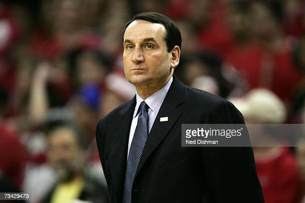 Head coach Mike Krzyzewski of the Duke University Blue Devils looks toward the court against the University of Maryland Terrapins at the Comcast...