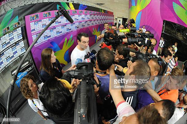 Head Coach Mike Krzyzewski of the USA Basketball Men's National Team speaks to the media after practice at Palau Sant Jordi on September 10 2014 in...
