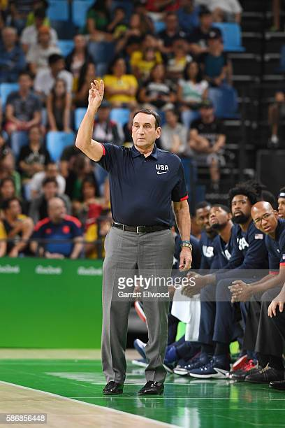 Head coach Mike Krzyzewski of the USA Basketball Men's National Team looks on during the game against China on Day 1 of the Rio 2016 Olympic Games at...