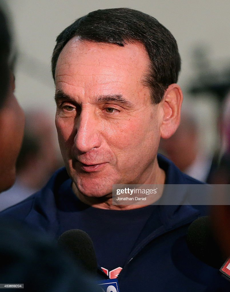 Head coach Mike Krzyzewski of the USA Basketball National team, speaks to the media following a USA basketball training session at Quest MultiSport Complex on August 15, 2014 in Chicago, Illinois.