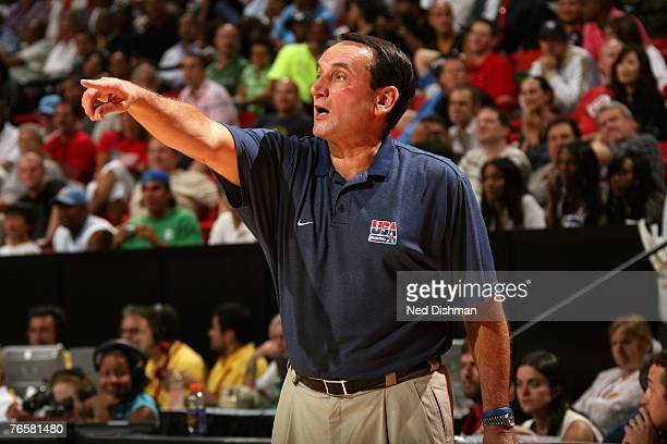 Head coach Mike Krzyzewski of the USA Men's Senior National Team points from the sideline during the Quarter Final Round of the 2007 FIBA Americas...