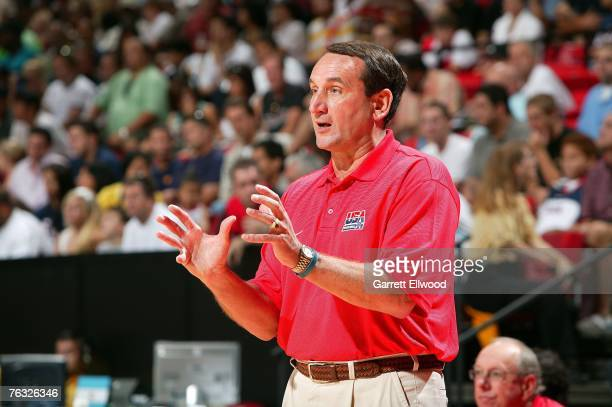 Head coach Mike Krzyzewski of the USA Men's Senior National Team directs his players against Canada during the first round of the 2007 FIBA Americas...