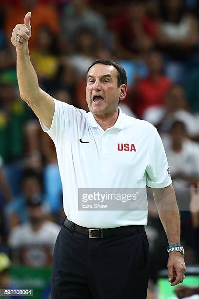 Head coach Mike Krzyzewski of United States shouts instruction during the Men's Semifinal match against Spain on Day 14 of the Rio 2016 Olympic Games...