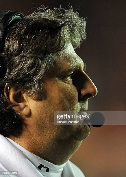Head coach Mike Leach of the Texas Tech Red Raiders during play against the Oklahoma State Cowboys at Jones ATT Stadium on November 8 2008 in Lubbock...