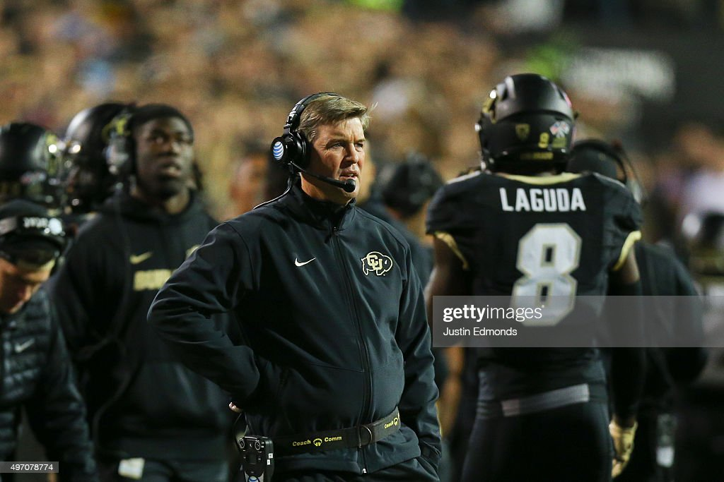 Head Coach Mike MacIntyre of the Colorado Buffaloes looks on during the first quarter against the USC Trojans at Folsom Field on November 13, 2015 in Boulder, Colorado.