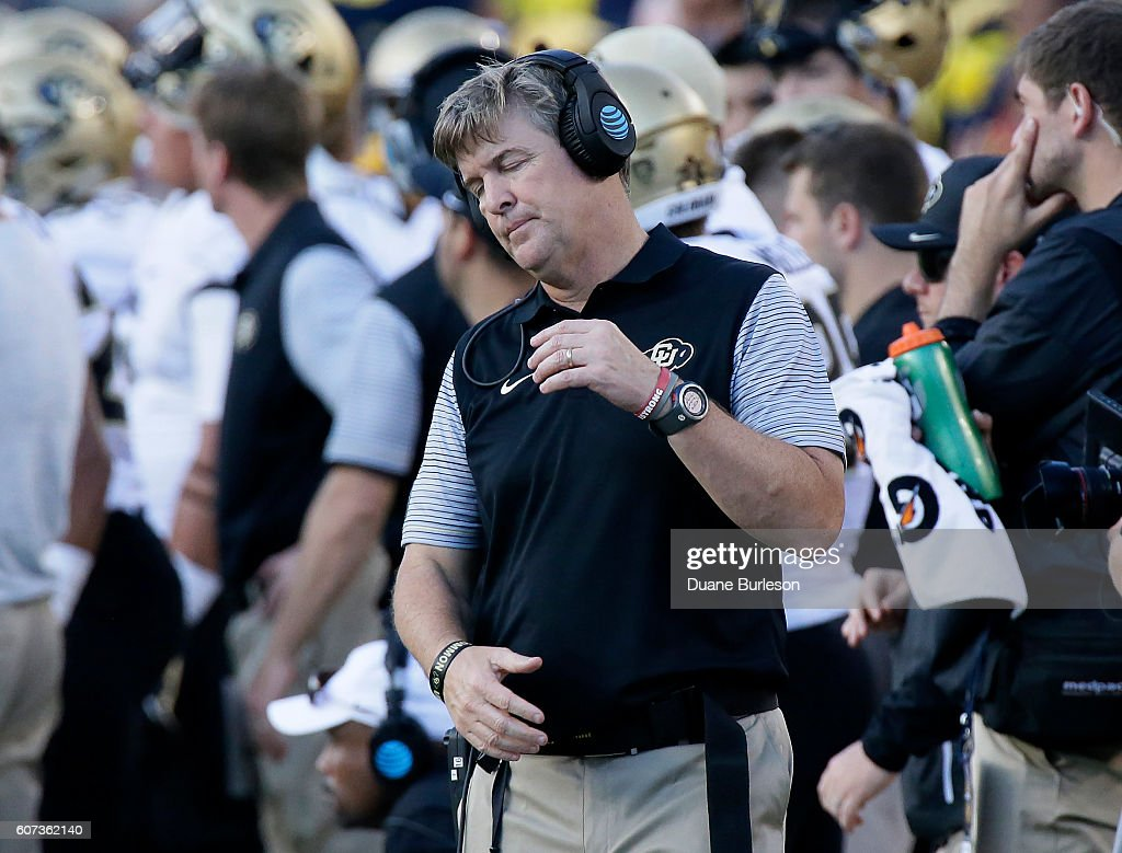 Head coach Mike MacIntyre of the Colorado Buffaloes reacts after his team failed to make a first down against the Michigan Wolverines during the second half at Michigan Stadium on September 17, 2016 in Ann Arbor, Michigan. Michigan defeated Colorado 45-28.
