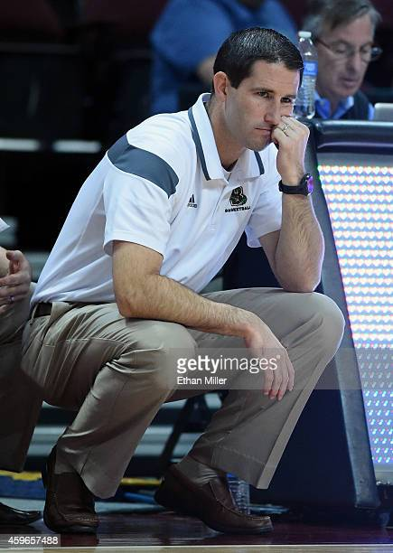 Head coach Mike Martin of the Brown Bears looks on during his team's game against the Austin Peay Governors during the 2014 Continental Tire Las...