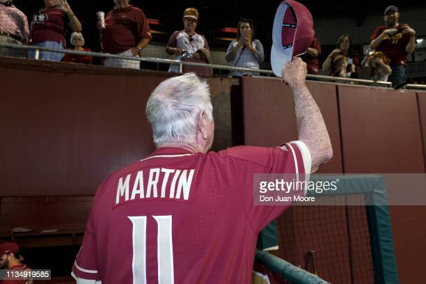 Head Coach Mike Martin of the Florida State Seminoles acknowledge the fans after the game against Virginia Tech on Mike Martin Field at Dick Howser...
