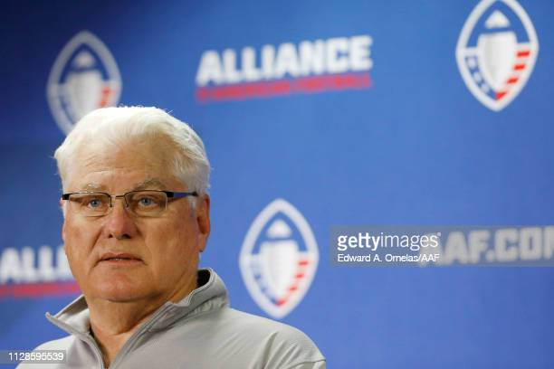 Head coach Mike Martz of the San Diego Fleet speaks during a press conference after the San Antonio Commanders defeated the San Diego Fleet 156 in an...