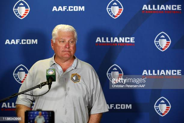 Head coach Mike Martz of the San Diego Fleet speaks to the media following his teams 3215 loss to the Arizona Hotshots in the Alliance of American...