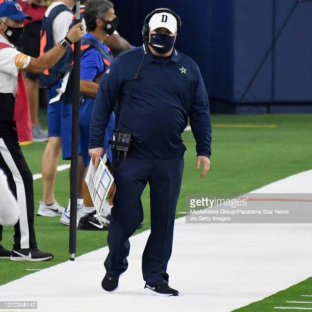 Head coach Mike McCarthy of the Dallas Cowboys against the Los Angeles Rams in the first half of a NFL football game on opening night at SoFi Stadium...