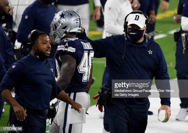 Head coach Mike McCarthy of the Dallas Cowboys against the Los Angeles Rams in the second half of a NFL football game on opening night at SoFi...