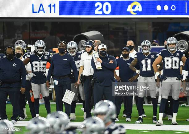 Head coach Mike McCarthy of the Dallas Cowboys follows the game from the sideline during the second half against Los Angeles Rams at SoFi Stadium on...
