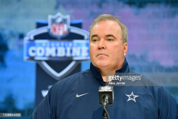 Head coach Mike McCarthy of the Dallas Cowboys interviews during the second day of the 2020 NFL Scouting Combine at Lucas Oil Stadium on February 26,...