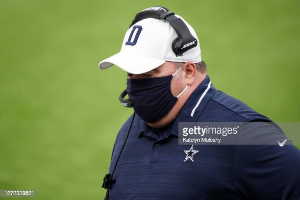 Head coach Mike McCarthy of the Dallas Cowboys looks on before the game against the Los Angeles Rams at SoFi Stadium on September 13, 2020 in...
