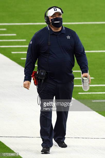 Head coach Mike McCarthy of the Dallas Cowboys reacts during the first half against the Los Angeles Rams at SoFi Stadium on September 13, 2020 in...
