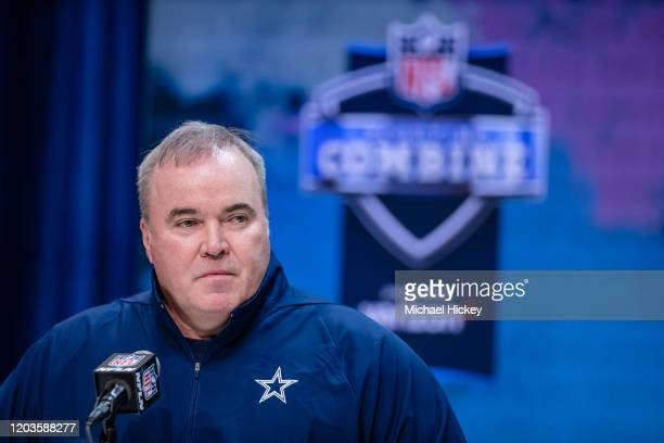 Head coach Mike McCarthy of the Dallas Cowboys speaks to the media at the Indiana Convention Center on February 26, 2020 in Indianapolis, Indiana....