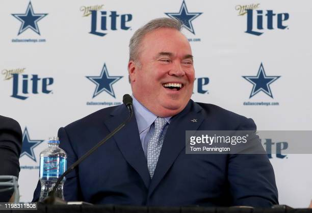 Head coach Mike McCarthy of the Dallas Cowboys talks with the media during a press conference at the Ford Center at The Star on January 08, 2020 in...