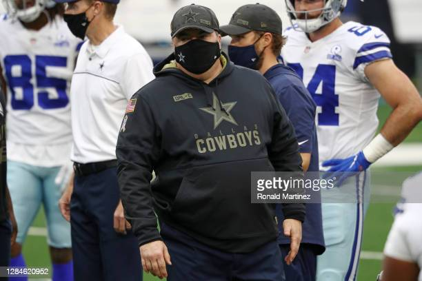 Head coach Mike McCarthy of the Dallas Cowboys watches action prior to a game against the Pittsburgh Steelers at AT&T Stadium on November 08, 2020 in...