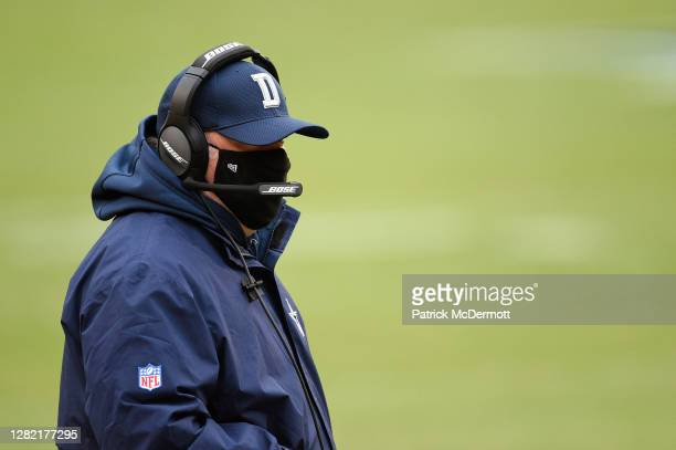 Head coach Mike McCarthy of the Dallas Cowboys watches play against the Washington Football Team in the first quarter of the game at FedExField on...