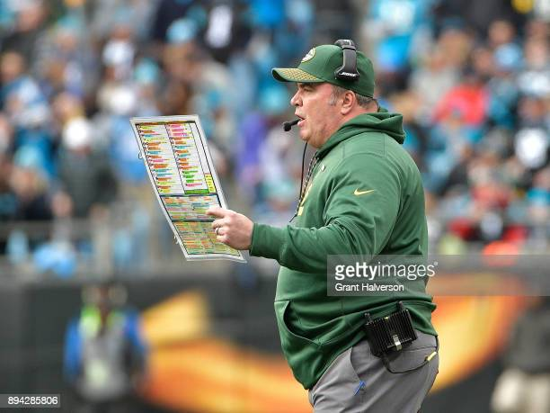 Head coach Mike McCarthy of the Green Bay Packers directs his team against the Carolina Panthers during their game at Bank of America Stadium on...