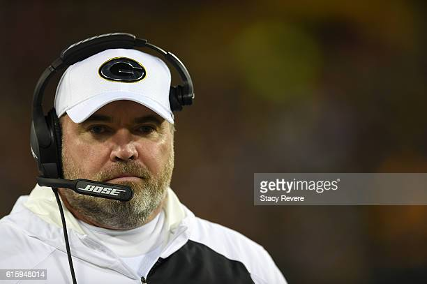 Head coach Mike McCarthy of the Green Bay Packers looks on against the Chicago Bears in the third quarter at Lambeau Field on October 20, 2016 in...