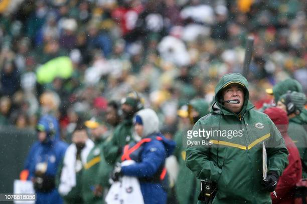 Head coach Mike McCarthy of the Green Bay Packers looks on from the sideline in the first quarter against the Arizona Cardinals at Lambeau Field on...