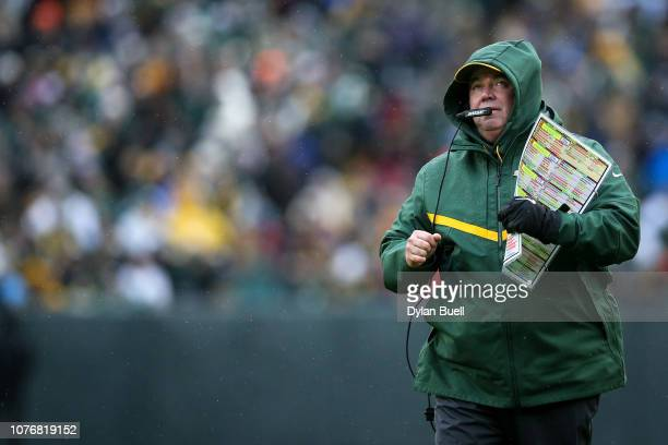 Head coach Mike McCarthy of the Green Bay Packers looks on from the sideline in the second quarter against the Arizona Cardinals at Lambeau Field on...