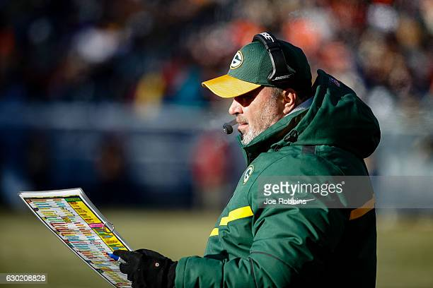 Head coach Mike McCarthy of the Green Bay Packers looks on from the sidelines in the third quarter against the Chicago Bears at Soldier Field on...