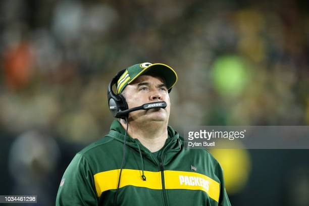 Head coach Mike McCarthy of the Green Bay Packers looks on in the first quarter against the Chicago Bears at Lambeau Field on September 9 2018 in...