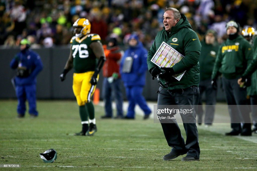 Head coach Mike McCarthy of the Green Bay Packers reacts in the third quarter against the Minnesota Vikings at Lambeau Field on December 23, 2017 in Green Bay, Wisconsin.