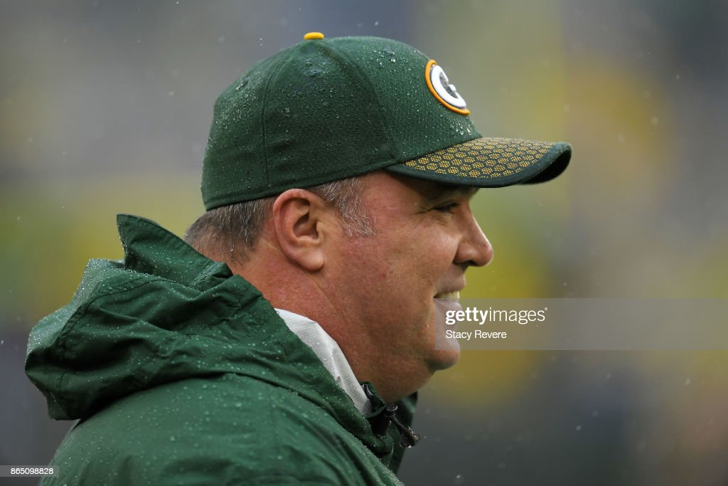 Head coach Mike McCarthy of the Green Bay Packers watches action prior to a game against the New Orleans Saints at Lambeau Field on October 22, 2017 in Green Bay, Wisconsin.