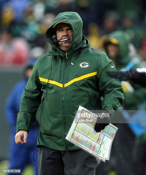 Head coach Mike McCarthy of the Green Bay Packers watches from the sideline during the second half of a game against the Arizona Cardinals at Lambeau...
