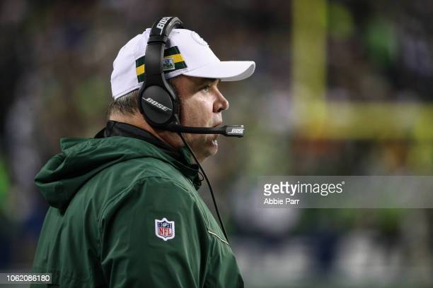 Head coach Mike McCarthy of the Green Bay Packers watches the action in the first quarter against the Seattle Seahawks at CenturyLink Field on...