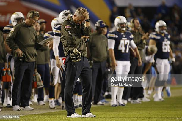Head coach Mike McCoy of the San Diego Chargers reacts on the sideline as the Chicago Bears defeated the Chargers 22-19 at Qualcomm Stadium on...