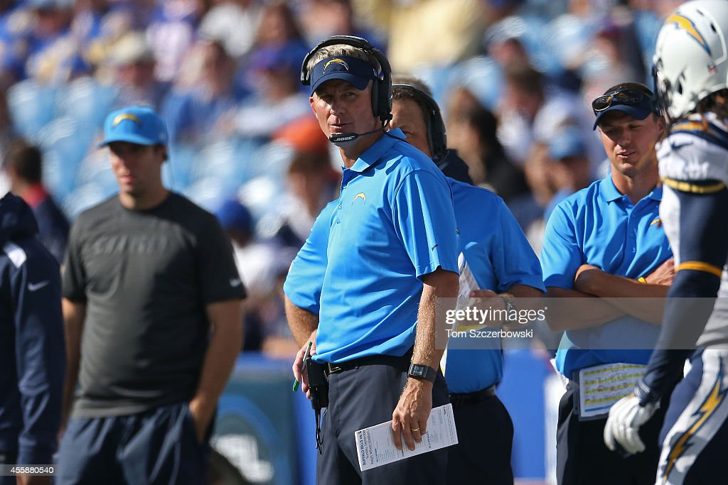 Head coach Mike McCoy of the San Diego Chargers watches from the sidelines against the Buffalo Bills during the second half at Ralph Wilson Stadium on September 21, 2014 in Orchard Park, New York.