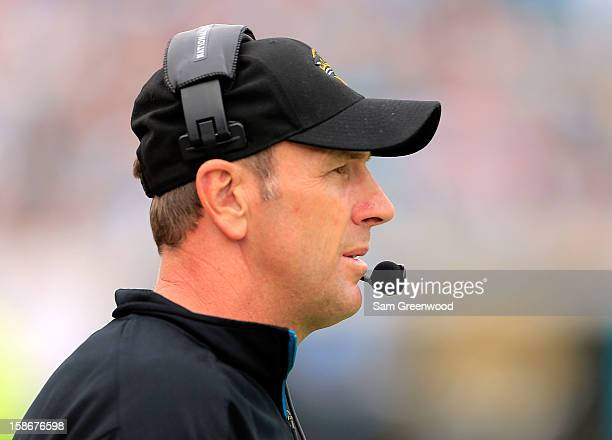 Head coach Mike Mularkey of the Jacksonville Jaguars watches the action during the game against the New England Patriots at EverBank Field on...