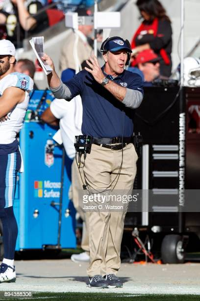 Head coach Mike Mularkey of the Tennessee Titans argues a call on the sidelines during the second quarter against the San Francisco 49ers at Levi's...