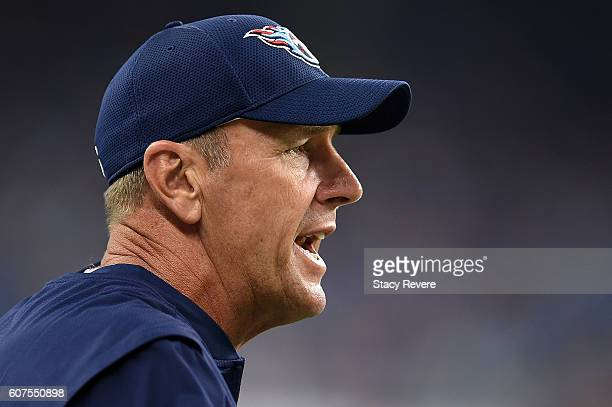 Head coach Mike Mularkey of the Tennessee Titans directs his team against the Detroit Lions at Ford Field on September 18 2016 in Detroit Michigan
