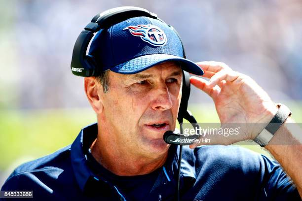 Head coach Mike Mularkey of the Tennessee Titans looks on during action against the Oakland Raiders in the first half at Nissan Stadium on September...