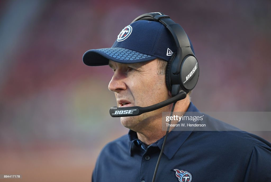 Head coach Mike Mularkey of the Tennessee Titans looks on from the sidelines against the San Francisco 49ers during an NFL football game at Levi's Stadium on December 17, 2017 in Santa Clara, California.