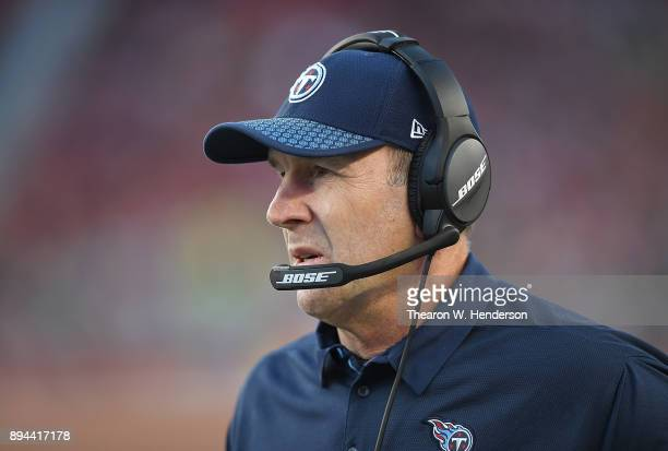 Head coach Mike Mularkey of the Tennessee Titans looks on from the sidelines against the San Francisco 49ers during an NFL football game at Levi's...