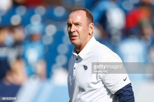 Head coach Mike Mularkey of the Tennessee Titans looks on prior to the game against the Houston Texans at Nissan Stadium on December 3 2017 in...